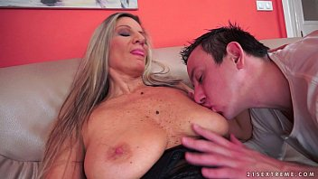 tit with silicone videos granny spreading Vintage 60s threesome on the sofa