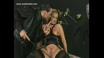 masters group serves female large slave Blonde in the captivity of his wet dream