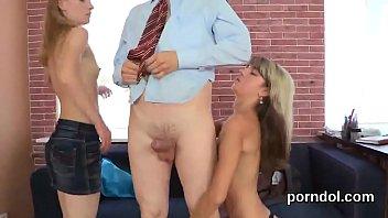 teased panties getting Big tits slut in threeway sucking 2 cocks
