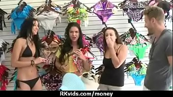 plays with cute for cock cash brunette Latex dildo inside pants